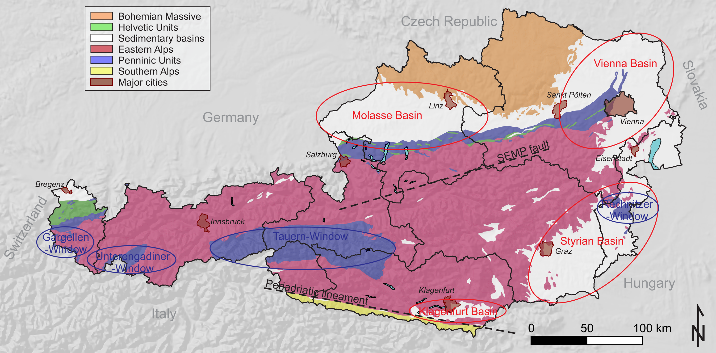map of the predominant geological structures in austria the main tectonic units dominated by the mountain range of the eastern alps are surrounded by
